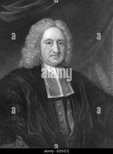 EDMOND HALLEY (1656-1742) English astronomer and mathematician. Steel engraving about 1730 - Stock Image