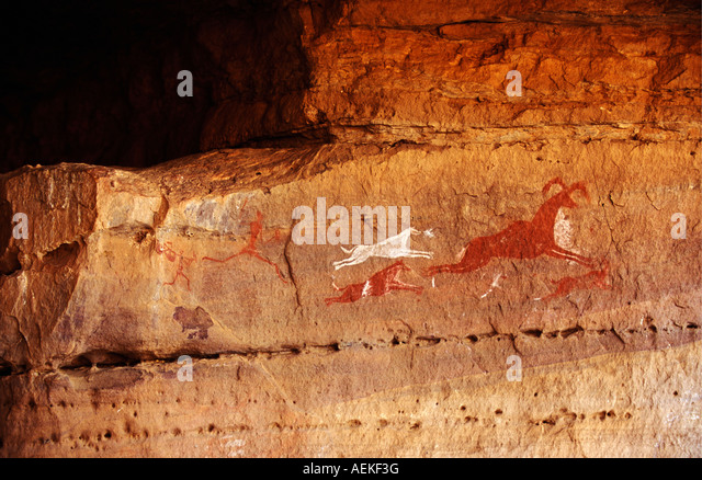 Libya Ghat Akakus Prehistoric paintings on rock - Stock-Bilder