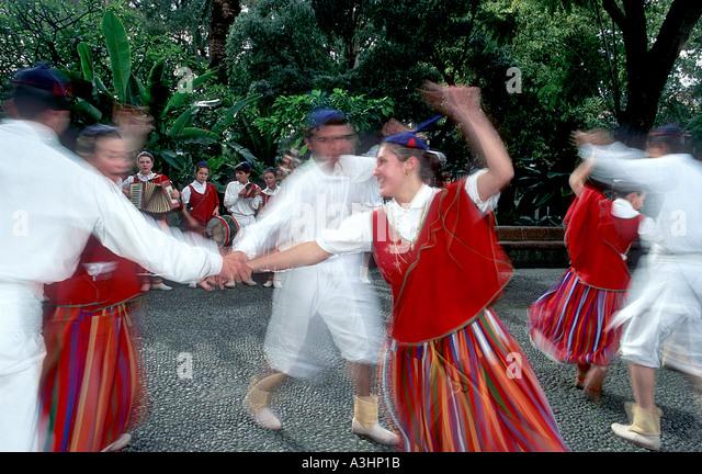Folcloric group of Camacha dancing for tourists, Camacha, Madeira Island, Portugal, Europe - Stock Image