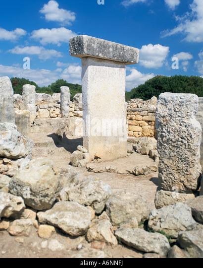 Ancient remains of Talayotic sanctuary and Taula Torralba Menorca Minorca Balearic Islands Spain Mediterranean Europe - Stock Image