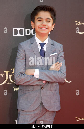 Los Angeles, California, USA. 4th April, 2016. Neel Sethi at the World premiere of 'The Jungle Book' held - Stock Image