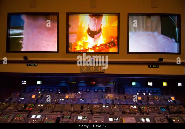 Original NASA Mission Control Center Display Kennedy Space Center Visitor Center, Florida - Stock Image