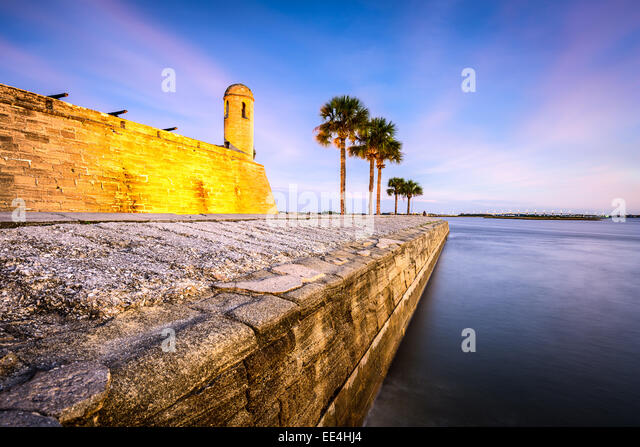 St. Augustine, Florida at the Castillo de San Marcos National Monument on the Matanzas River. - Stock-Bilder