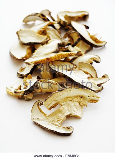 Dried shiitake mushrooms - Stock Image