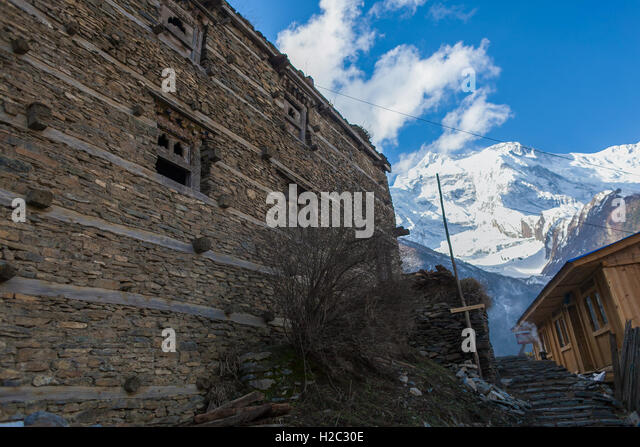 Photo Tracking Himallaya Vilage.View Nepal Mountans Background. Hikking Sport Travel. Horizontal - Stock Image