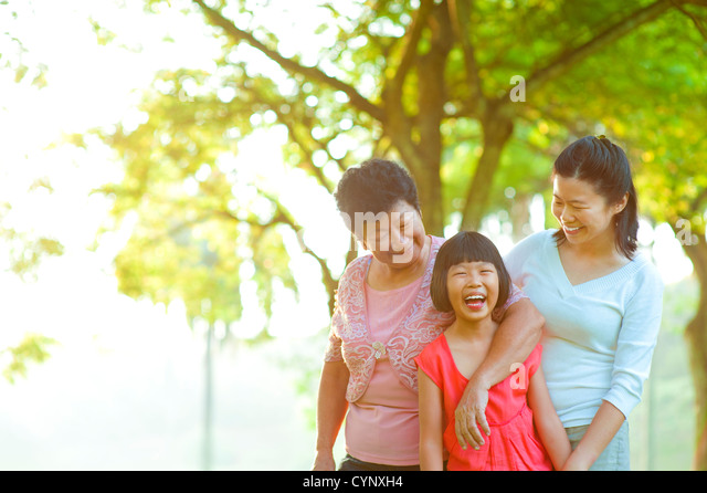 Grandmother, mother and me at outdoor park - Stock-Bilder