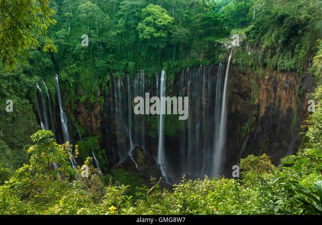 Coban sewu tumpak waterfall,  Lumajang, Jawa,  Indonesia - Stock Image