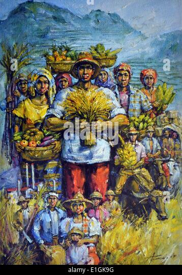 Angel Cacnio, oil on canvas, 1992, 'Good harvest' - Stock Image
