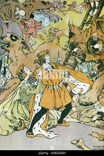 THE TINDER BOX by Hans Christian Anderson. A  1905 illustration by Helen Stratton of the scene where the three dogs - Stock-Bilder