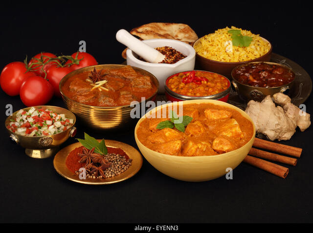 SELECTION OF INDIAN FOODS - Stock Image