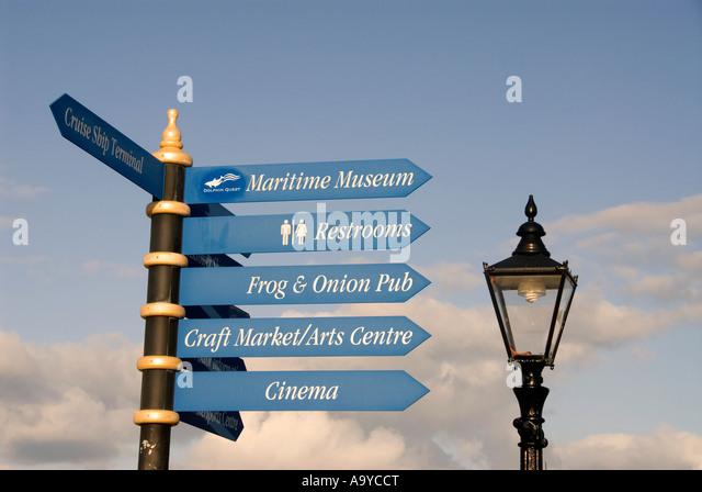 Bermuda Dockyard direction place signs lamp post - Stock Image