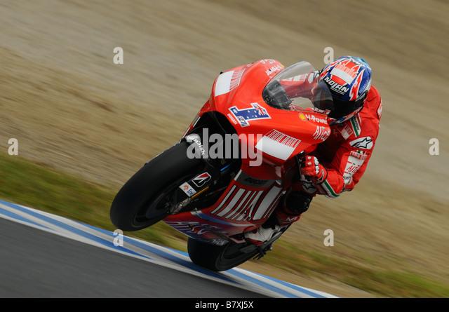 Casey Stoner Ducati SEPTEMBER 28 2008 Motor Casey Stoner of Australia and Ducati Marlboro team in action during - Stock Image