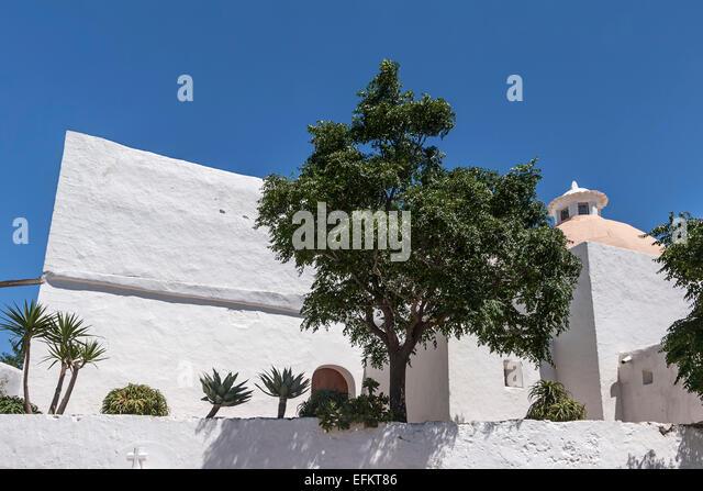 Puig de Missa , Church in Santa Eulalia - Ibiza - Balearic Islands - Spain - Stock Image