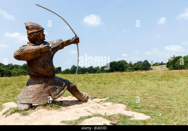 Statue of an archer at Battle abbey, scene of the Battle of Hastings in 1066 - Stock Image