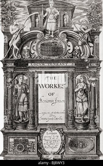 Title page to The Works of Benjamin Jonson, 1616. - Stock Image