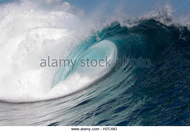 Detailed View Of A Curling Wave In The Surf - Stock Image