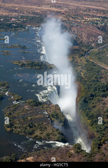 Victoria Falls, aerial view, UNESCO, Zimbabwe - Stock Image