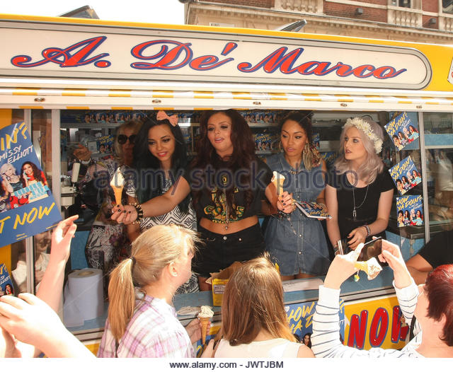 Little Mix. Little Mix seen in an ice-cream van at Covent Garden market. The girls were giving away ice cream and - Stock Image