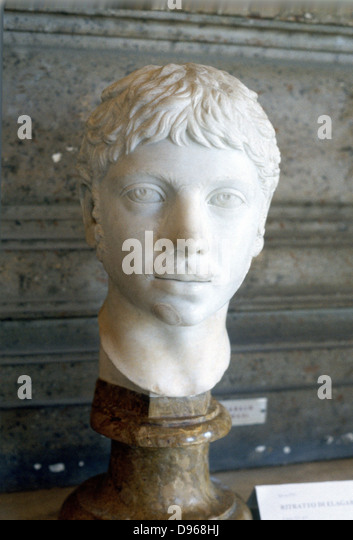 Heliogabalus (204-22) Roman Emperor from 218. Murdered by praetorians in palace revolution. Marble bust. - Stock Image