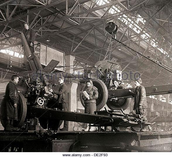 Gun production in wartime, USSR, World War II, c1941-c1943. Artist: Anon - Stock Image