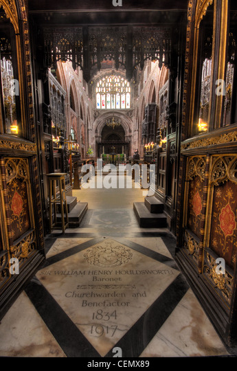 Manchester Cathedral interior, Manchester City, Lancs Lancashire, England UK - Stock Image