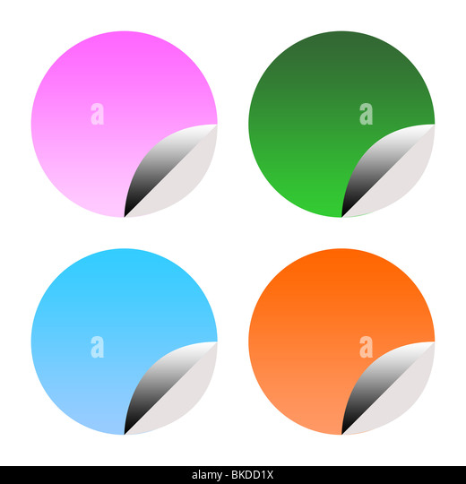 Set of colorful stickers of labels partially peeled, isolated on white background. - Stock Image