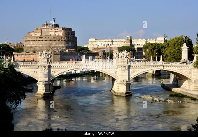 Ponte Vittorio Emanuele II bridge, Tiber River, Castel Sant'Angelo, Castle of Angels, Rome, Lazio, Italy, Europe - Stock Image