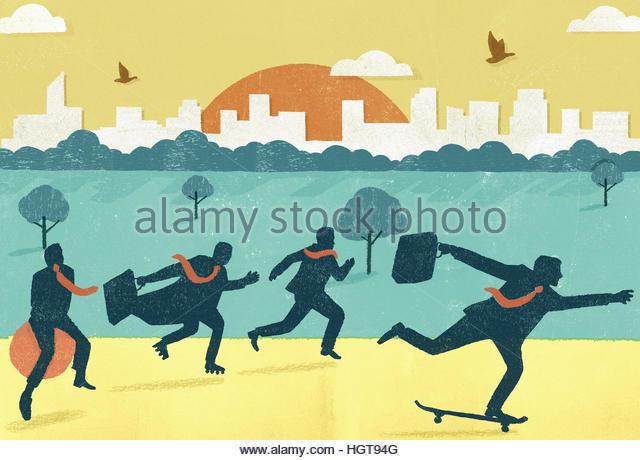 Businessmen in a hurry, running, skateboarding, roller skating and using space hopper - Stock-Bilder