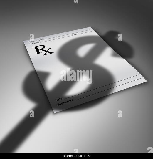 Healthcare cost crisis or health care costs concept as a doctor prescription paper with the cast shadow of a dollar - Stock Image