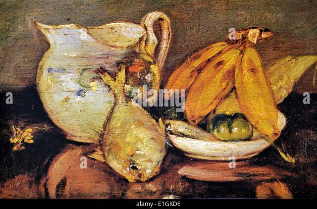 Severino Fabie, Still Life with Fish, 1925. Oil on wood. - Stock Image