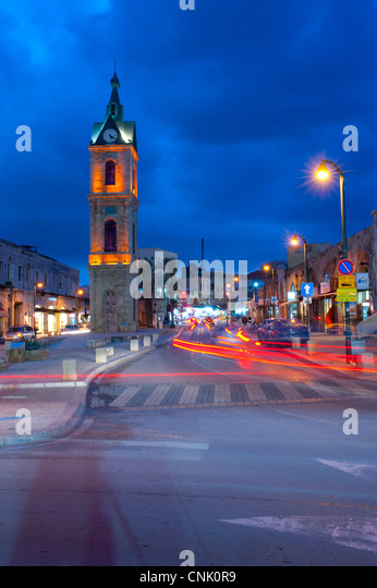 Middle East Israel Jaffa ancient port city - clock tower night time - Stock Image