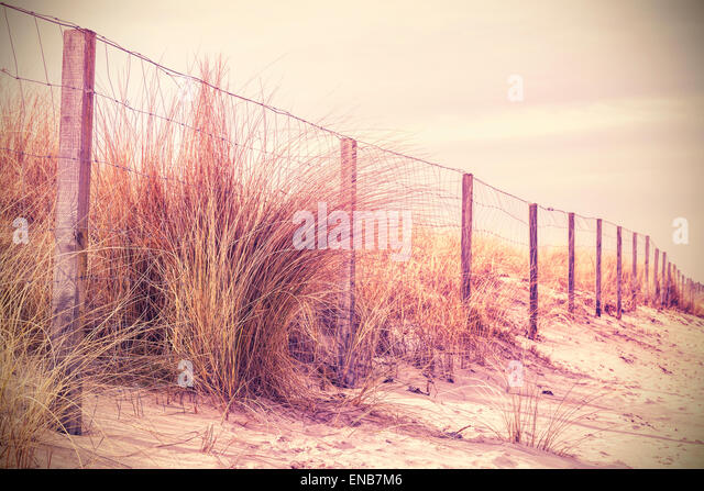 Vintage retro filtered photo of fence on a dune, nature background. - Stock Image