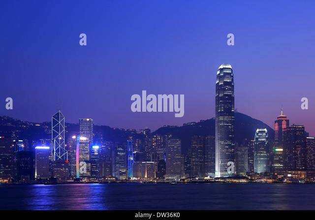 Victoria harbor night in Hing Kong, China - Stock Image