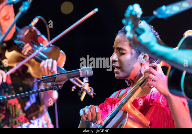 Cartagena, Spain. 22nd July, 2017. American singer, Leyla McCalla, during her concert at La Mar de Musicas Festival. - Stock Image