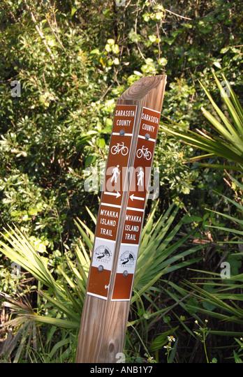 Florida Myakka River State Park multiuse trail sign - Stock Image
