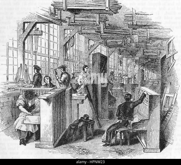 ENGLISH PIANO FACTORY about 1850 - Stock Image