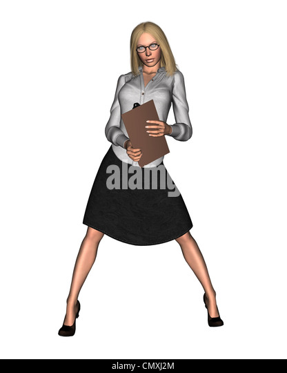 Woman holding clipboard - 1 - Stock Image