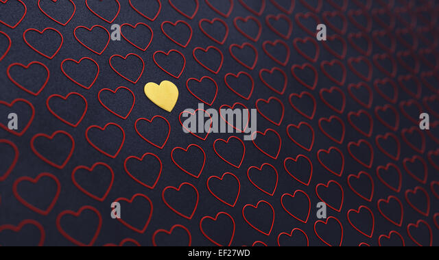 Red and golden hearts on dark background , Valentine's day , Wedding - Stock Image