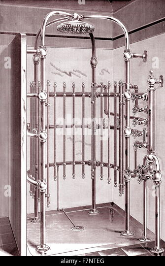 Photograph of an antique shower system. Dated 1929 - Stock Image