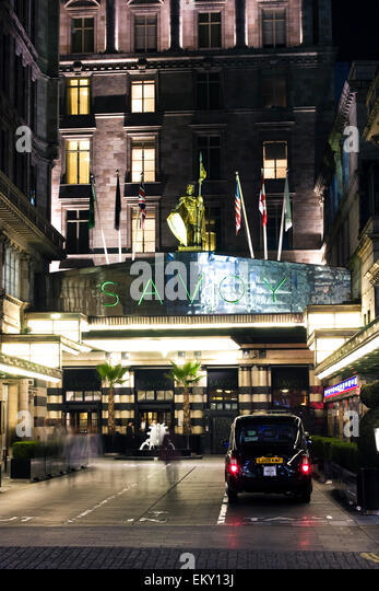 Entrance to the Savoy Hotel, The Strand, London, UK - Stock Image