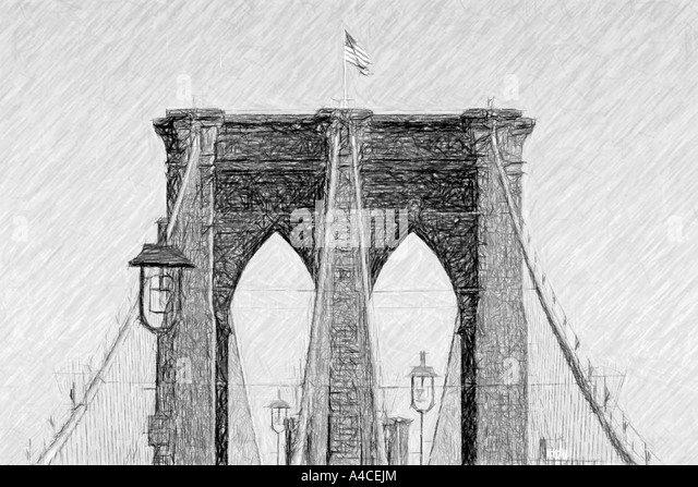 Brooklyn Bridge as a Charcoal or drawing, digitally rendered - Stock Image