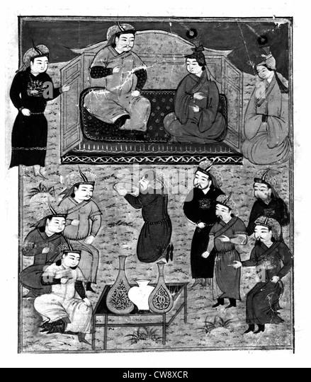 Persian manuscript adorned with 106 paintings - Stock-Bilder