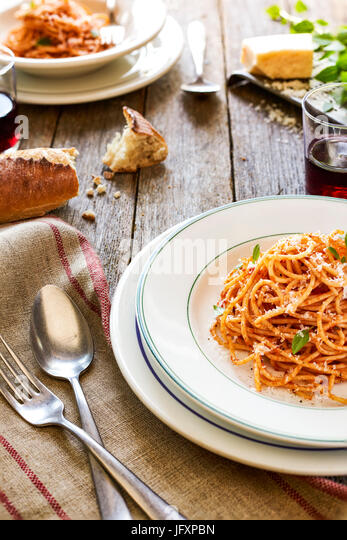 spaghetti with red sause - Stock Image