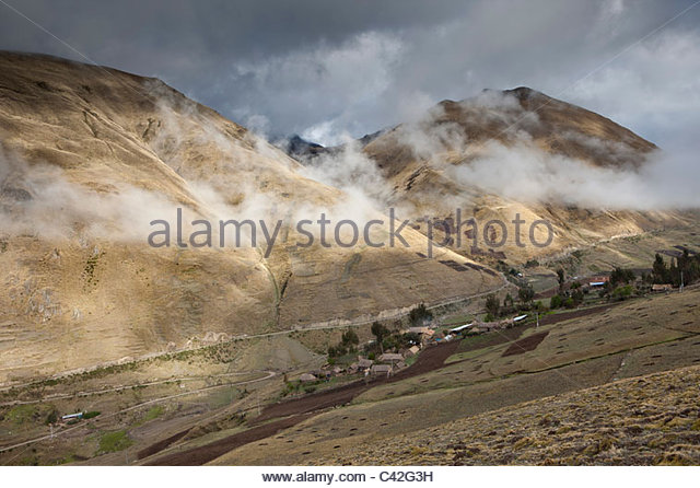 Peru, Patakancha, Patacancha, village near Ollantaytambo. View on countryside. - Stock Image