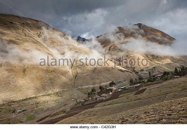 Peru, Patakancha, Patacancha, village near Ollantaytambo. View on countryside. - Stock Image