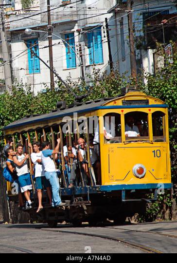Rio de Janeiro tram in Santa Teresa cariocas - Stock Image