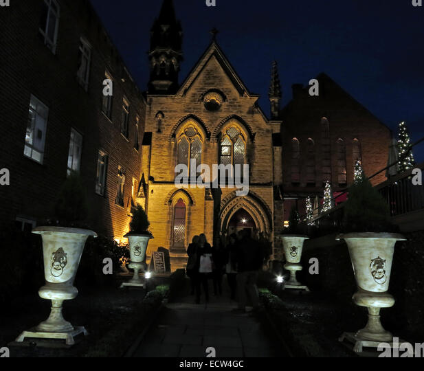 The Church Bar & Restaurant Chester,at dusk, England,UK, was a church, now a pub - Stock Image