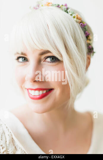Portrait of young blond woman - Stock Image