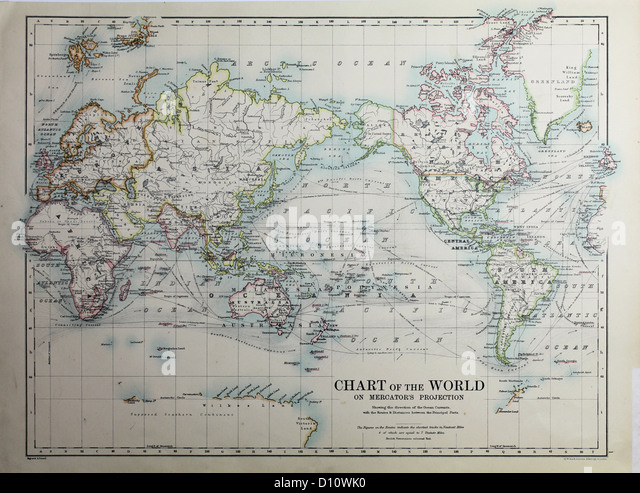 Antique map by W and A&K Johnston, printed in c.1888.  Illustrating the world. - Stock Image