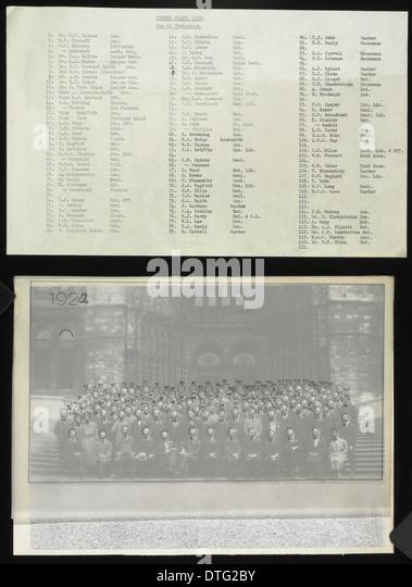 Key to staff photograph, 1922 - Stock-Bilder